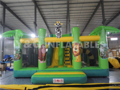 Jungle Multi Play Inflatable Bouncer With Slide   YCO-38