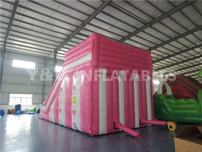 Pink white inflatable slide   YS-15